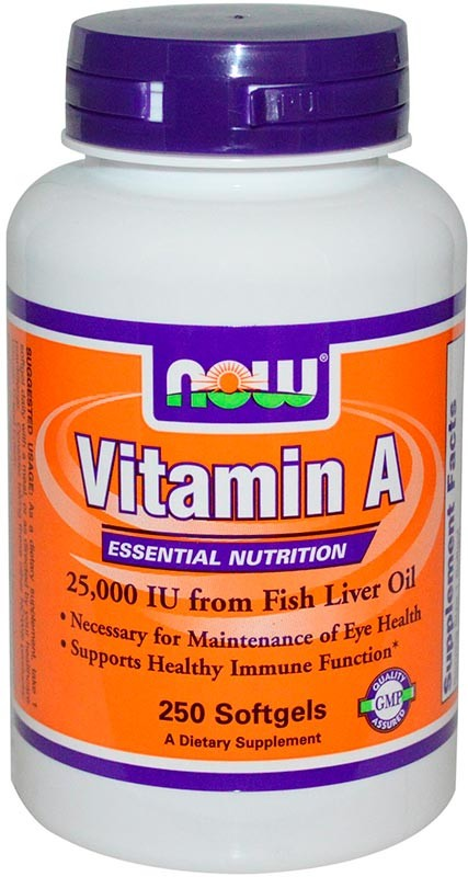 Now Vitamin A 25000 Iu 250 гелевых капсул