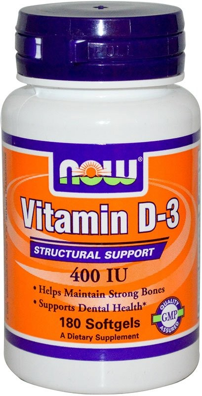 Now Vitamin D-3 400 Me 180 гелевых капсул