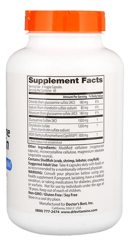 Doctors Best Glucosamine Chondroitin Msm with OptiMSM 240 капсул